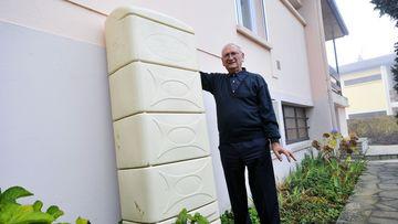 Récupérateur d'eau de pluie installé chez un particulier